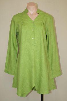 Pure Amici Minimalist Lagenlook Asymmetrical Green Linen Rayon Tunic Top sz S M #PureAmici #Tunic