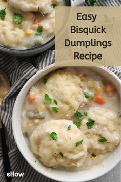 This comforting recipe calls for staples like chicken broth, frozen vegetables and Bisquick mix — all of which you probably already have on hand. Chicken And Bisquick Dumplings, Chicken And Dumplins, Dumplings For Soup, Vegetarian Dumplings Recipe, Bisquick Recipes, Crockpot Recipes, Chicken Recipes, Cooking Recipes, Easy Recipes