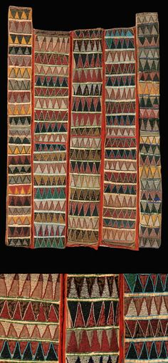 Africa   Glass bead embroidered cloth; five panels of velvet sewn together and embroidered with multicolured glass beads chevron pattern.   Yoruba people, Nigeria   Height 109 cm / 43 inch    24,000€ ~ sold Sept '07