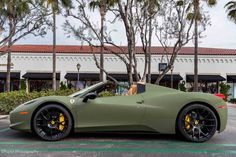 Matte Green Ferrari 458 Italia by Platinum Motorsports. Don't like green but this is nice!