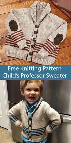 Free Knitting Pattern for Professor Sweater for Toodlers and Children Free Knitting Pattern for Professor Sweater for Toodlers and Children - Cardigan with a shawl collar and elbow patches f. Baby Knitting Patterns, Baby Cardigan Knitting Pattern Free, Knitting For Kids, Free Knitting, Finger Knitting, Scarf Patterns, Knitting Machine, Baby Boy Cardigan, Toddler Cardigan