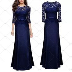 """This is a stunning one piece, full length formal dress. Can also be used as a bridesmaid dress. The dress has a rounded neck line, 3/4 sleeves, floral lace top design and floral lace sleeves, and made of 88% polyester and 12% spandex.    Available in US sizes 4 - 14 with the following measurements:    Small, US 4 - 6, 32.3"""" - 34.2"""" Bust Range, 26.8"""" Waist, 58.4"""" Dress Length.    Medium, US 8, 34.2"""" - 36.2"""" Bust Range, 28.7"""" Waist, 59.1"""" Dress Length    Large, US 10, 36.2"""" - 38.3"""" Bust…"""