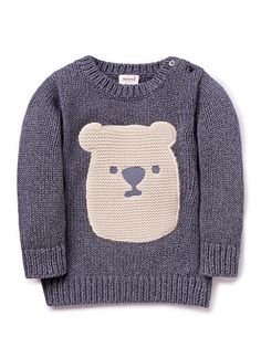 100% Cotton knitted crew neck sweater featuring knitted bear face on front. Buttons on shoulder for easy dressing.