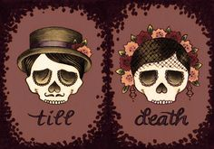 This reminds me of my husband and I. He's got a budding collection of skeleton/skull tattoos and I love dia de los muertos. tattoo ideas, tattoos sugar skulls, skull couple tattoo, wedding tattoos, prints, coupl tattoo, couple tattoos, tattoos husband, skull love tattoo