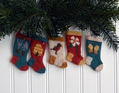 brand new set of 5 hand-knit Christmas stocking ornaments are perfect for any gardener!