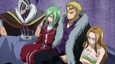 Freed and Laxus...... and the other two sitting together.