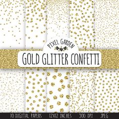 Instand download gold glitter confetti digital paper pack. Golden metallic Christmas, snow digital paper set will be perfect for Christmas