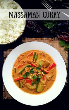 Vegan massaman curry is a mild Thai-style curry with an unusual mix of spices. Great for those who don´t like spicy curries and/or vegetarians.