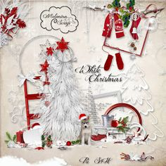 "Scrapbook freebie kit ""White Christmas"" by Molemina scrap"
