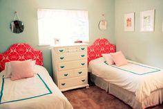Design Solutions for Shared Kids Bedrooms...This shared room is so small that dividing it up wasn't a viable option. Instead this mom made each side of the room visually identical with bedding and accents.