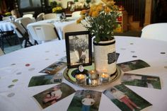 Photo Centerpiece with Trivia - This easy DIY centerpiece is affordable, looks great – and combines pictures with interesting tidbits about the honoree's life!