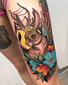 Neo traditional tattoo by Juan David Rendón – tattoo sleeve Bunny Tattoos, Rabbit Tattoos, Leg Tattoos, Body Art Tattoos, Sleeve Tattoos, Neo Traditional Art, Traditional Tattoo Woman, Traditional Tattoo Design, Traditional Tattoo Rabbit