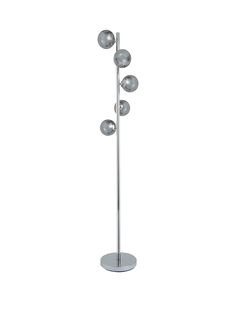 Ideal Home Roma 5-light Floor Lamp – 160 cm A glamorous approach to the chic lighting typically found in boutique hotels, this floor lamp from the Roma range by Ideal Home is a beautiful addition to your space. It features 5 smoky glass ball shades, each spiralling around the chrome-plated stem to diffuse the light and create a relaxed, inviting ambience in dining or living rooms. Requires 5 x G9 bulbs (not included), Max 18W. A matching ceiling light is also available separately (see item…