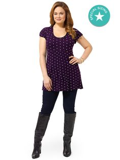 Purple & White Polka Dot Longline Top With Frill Sleeves