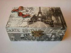 Cigar Box Art, Cigar Box Crafts, Decoupage Wood, Decoupage Vintage, Decoupage Suitcase, Altered Boxes, Altered Art, Scrapbook Box, Diy And Crafts
