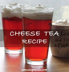 """The main ingredients of cheese tea are cream cheese, heavy cream and sugar. The drink is called """"cheese tea"""" since the ingredients above are whipped. Cream Cheese Topping, Whipped Cream Cheese, Tea Recipes, Drink Recipes, Cream And Sugar, How To Make Cheese, Food Trends, Milk Tea, Futuristic Architecture"""