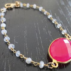 Hot pink chalcedony with moonstone chain wire wrap bracelet