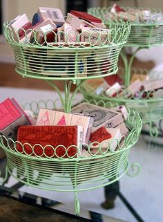 Love these tiered green wire baskets
