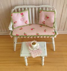 Miniature Shabby Chic Windsor Bench With A by LittleThingsByAnna