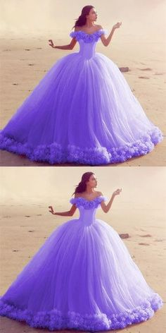 Off The Shoulder Tulle Flower Wedding Dresses Ball Gowns 2019 - - Lilac Quinceanera Dresses,Floral Ball Gowns,Ball Gowns Quinceanera Dresses,Sweet 16 Dresses Source by Sweet 16 Dresses, Sweet Dress, Pretty Dresses, Beautiful Dresses, Amazing Dresses, Purple Quinceanera Dresses, Robes Quinceanera, Quinceanera Ideas, Ball Gown Dresses