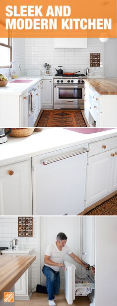 This clean and white kitchen is ready for the warmth of a home-cooked meal. With a stainless steel commercial-style range and sleek white appliances that blend in with the modern environment, this kitchen is more than just pretty to look at. Click to see how blogger Mandi Johnson made this gourmet kitchen possible with KitchenAid appliances.
