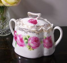Lidded Sugar Bowl with Roses Double Handle Bavaria