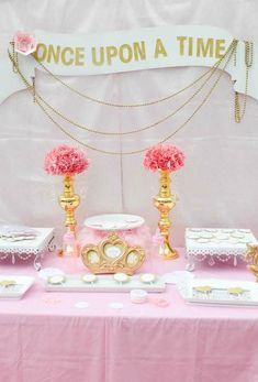 Princess baby shower dessert table in pink and gold!  See more party planning ideas at CatchMyParty.com!