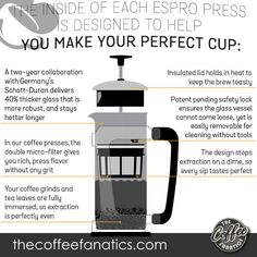 XPLORE YOUR INNER BARISTA - We'd like to introduce you to the ESPRO Press P5, the simplest way to brew coffee you'll love. It's elegant, durable, and kicks the grit out of traditional French presses. Brewing could be a sight to behold. That's why we created the P5, so people can see the magic of the ESPRO Press at work. Best French Press Coffee, How To Introduce Yourself, Make It Yourself, Perfect Cup, Glass Vessel, Barista, Simple Way, Brewing, Kicks