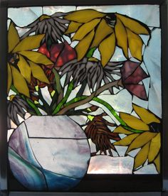 Stained glass mosaic window ~ 'Flowers in the Window'  Still life.