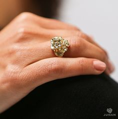 Gold Bouquet Ring 18k gold plated flower cluster by JunamJewelry