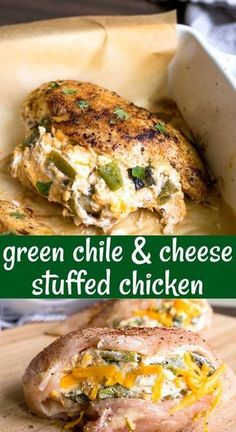 Cheese stuffed chick Cheese stuffed chicken breast with Hatch green chiles cheddar cheese and cream cheese is so flavorful with such few ingredients! This easy baked stuffed chicken breast is a great dinner for two! Baked Stuffed Chicken, Baked Chicken Breast, Baked Chicken Recipes, Cream Cheese Stuffed Chicken, Chicken Breast Cream Cheese, Healthy Stuffed Chicken Breast, Meals With Chicken Breast, Stuffed Chicken Breasts, Easy Stuffed Chicken Recipes