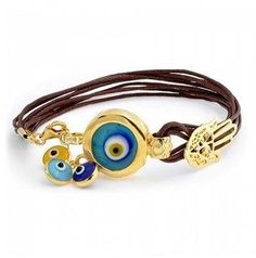 Bling Jewelry Gold Plated .925 Silver Evil Eye Charm Leather Bracelet 7in.