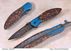 Llannoite handles make this Bill Keller art knife a true thing of beauty. How To Defend Yourself, Damascus Blade, Knife Art, Knife Handles, Knives And Swords, Knife Making, Folding Knives, Edc, Knifes