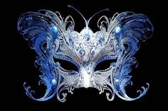 Italian Masquerade Butterfly Metallo Ornate- Blue/Silver Venetian Mask.