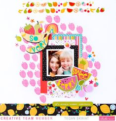 Scrapbook Layout Sketches, Scrapbook Pages, Scrapbooking Ideas, Strawberry Background, Alphabet Stickers, Orange You Glad, Having A Blast, Heart Patterns, More Fun