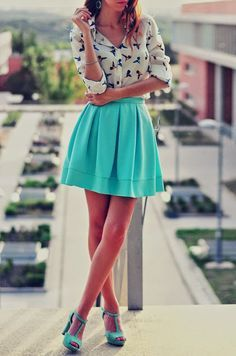 turquoise The Fashion: Gorgeous dress black fur Summer outfits Teen fashion Cute Dress! Clothes Casual Outift for • teenes • movies • girls • women •. summer • fall • spring • winter • outfit ideas • dates • school • parties mint cute sexy ethnic skirt