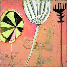 "'Pink Group' by Barbara Gilhooly, 10"" x 10"", mixed media on birch. (c) 2013,  $300. http://barbaragilhooly.com/"
