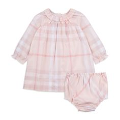 Burberry - Baby Girls 'Amandine' Dress - Pink - Baby long sleeve dress, Soft woven cotton, Reverse button fastening, Round ruffled neckline, Elasticated cuffs, Classic check print, Comes with matching bloomers, Material: 100% Cotton