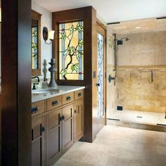 Great Tile Style The Roots Of A Craftsman Bathroom Fireclay Tile For Craftsman Style Bathroom Plan Craftsman Style Bathrooms, Bungalow Bathroom, Craftsman Interior, Craftsman Bungalows, Rustic Bathrooms, Modern Bathroom, Bathroom Ideas, Craftsman Houses, Craftsman Mirrors