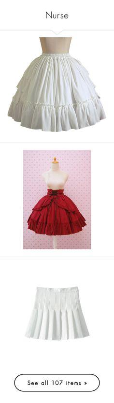 """Nurse"" by hachi13 on Polyvore featuring skirts, lolita, lolita skirts, white knee length skirt, chiffon skater skirt, tiered chiffon skirt, skater skirt, white skater skirt, dresses y bottoms"