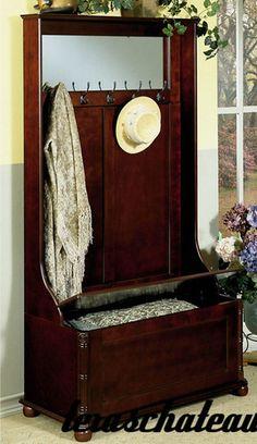 Dark Wood Entry Foyer Hall Tree Storage Bench Hat Coat Rack Traditional Style | eBay