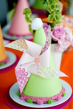 Birthday Party Ideas - Blog - PIN WHEELS AND POLKA DOTS PARTY birthday parties, party hats, paper, pinwheel parti, birthday hats, birthday idea, fiesta, parti hat, parti idea