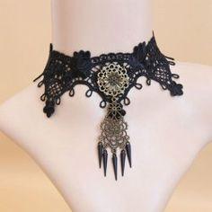 $5.73 Gothic Rivet Pendant Floral Lolita Lace Necklace For Women