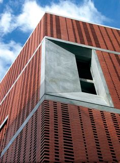 staggered brick facade.