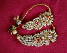 Indian Karnataka Gold and Natural Pearl Earrings Bridal Jewelry, Beaded Jewelry, Gold Jewellery, Amrapali Jewellery, Maharashtrian Jewellery, Handmade Jewellery, Stylish Jewelry, Fashion Jewelry, Nose Ring Jewelry