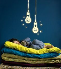 Cute Lamps Lighting Wall Stickers Decals for Nursery Boys Bedroom Decorating Design Ideas