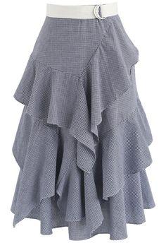 Passion Tiered Ruffle Hem Skirt in Navy Gingham
