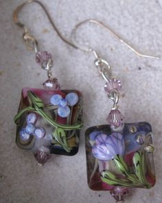 Lampwork Earrings Murano Glass Flowers by SusanHeleneDesigns, $35.00