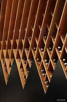 divine colours of warm wood and black for stylish wine storage Shelving Wine Cellar Design, Wine Design, Design Commercial, Commercial Interiors, Wine Shelves, Wine Storage, Storage Shelving, Renovation Design, Drink Bar