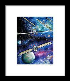 Space Alien Shuttles Star Wars Framed Print By Sofia Metal Queen
